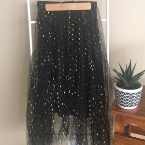 Eva Franco black and gold tulle midi skirt